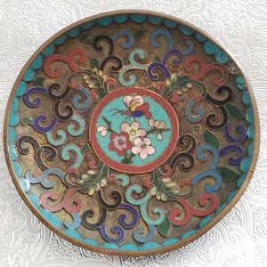Very Rare Antique Chinese Cloisonne Dish, Brass